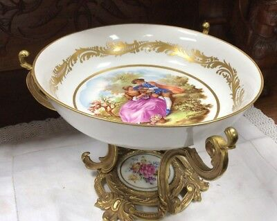 Beautiful French Sevres Bronze Hand Painted Porcelain Bowl Centerpiece Signed