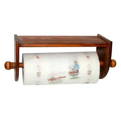 Wooden Wall Mount Paper Towel Holder Kitchen Bathroom Pine Finish East Install