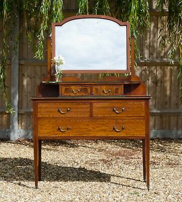 Antique Edwardian Inlaid Mahogany Dressing Table / Chest of Drawers / Vanity