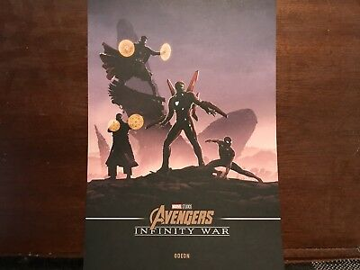 Marvel Avengers Infinity War A4 Poster Odeon Exclusive Ironman Spiderman