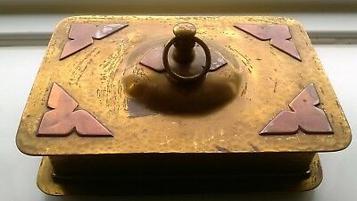 Antique Arts And Crafts Hammered Brass And Copper Box