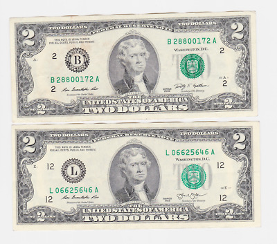 Usa ,$ 2,2  ,2009,2013 , Legal Tender .2Pcs  , Collectable Item ,  See Scan