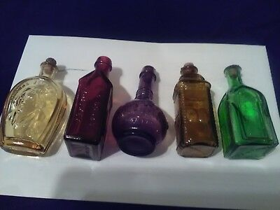 5 mini glass medicine, whiskey bottles. Elixir, remedy, tonic, 2 Wheaton