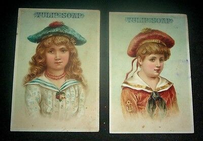 """Two Victorian trade cards for Tulip Soap 5-1/4"""" x 3-1/2"""""""