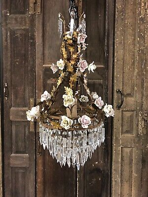 Pretty French Floral Toleware Chandelier