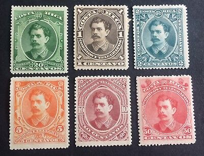 6 nice old unused stamps Costa Rica 1889