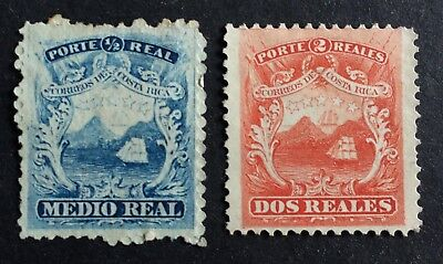 2 top old stamps Costa Rica 1863
