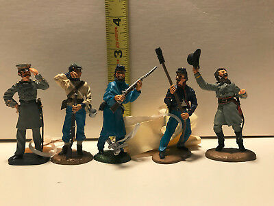 Civil War Figurines (5) Franklin Mint, Fine Pewter and Hand Painted [set 2]