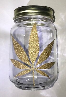 LARGE-Glass Stash Jar Airtight Storage Container- Glitter Weed Leaf (Clear)LARGE
