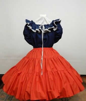 2 Piece American Beauty Square Dance Dress