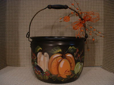 Vintage Aluminum Lifetime Cook Kettle Fall Pumpkins Eggplant Hand Painted By Jmd