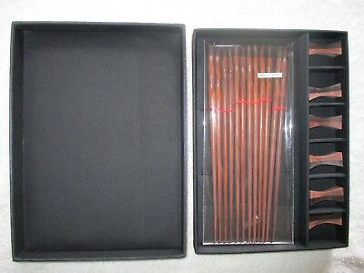 New set of 6 Dark Wood Chop Sticks with Stands in Box