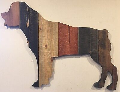 Rottweiler Rustic Wood Stained Dog Silhouette Sign