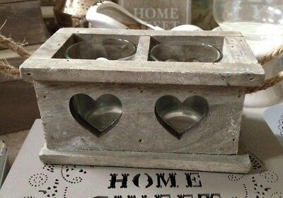 Double Heart Wooden Candle Holder with Glass Tea Light Holders & Rope Handles
