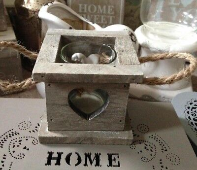 Heart Wooden Candle Holder with Glass Tea Light Holder & Rope Handles