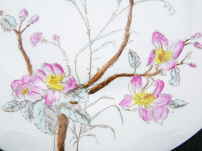4 Antique Aesthetic Movement Plates - Japonism birds and tree peonies design