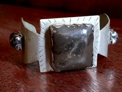 """Vintage Navajo Handcrafted Unkown Silver & Agate 5 1/2"""" Heavy Cuff Bracelet 48g"""