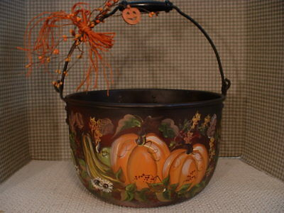 Vintage Aluminum  Very Large Kettle Fall Pumpkins Acorns Hand Painted Art By Jmd