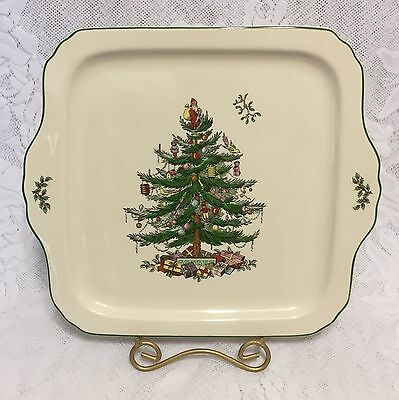 "Spode Christmas Tree Serving Tray Platter 11 X 12"" Holiday Ivory Porcelain"