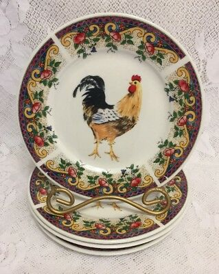 American Atelier At Home Set Of 6 Porcelain Rooster Toile Salad