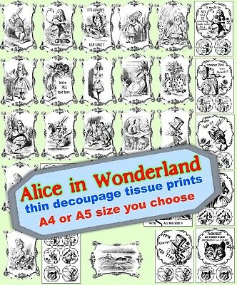 Alice in Wonderland BW very thin decoupage tissue paper A4 or A5 size 28 designs