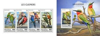 Z08 IMPERF CA18507ab Central Africa 2018 Bee-eaters MNH ** Postfrisch Set