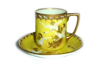 Rare Antique Nippon Imperial Yellow Flying Geese Tea cup Saucer Japan