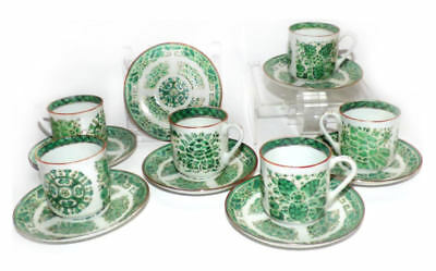 Chinese Export Fitzhugh Green Cups and Saucers RARE