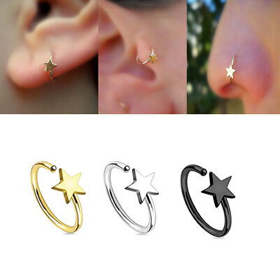 Nose Tragus Daith Helix Captive Ring Surgical Steel Open Star Hoop 20g 8mm