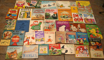 Huge Lot of 38 Vintage Children's Books 1940-1980 Mixed Miscellaneous Collection