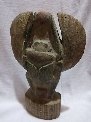 Rare Ancient Egyptian Antique Winged Scarab Beetle , Wood Scarab Egypt Bc