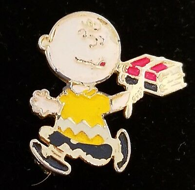 Charlie Brown Pin United Features Vintage Enamel Running with School Books