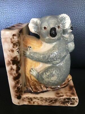 Vintage Rare Stunning Pottery Koala And Cub On Stump Bookend ~ One Only RHS