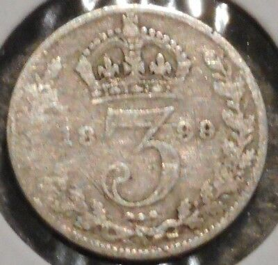British Silver Threepence - 1899 - Queen Victoria - $1 Unlimited Ship