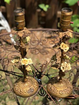 """Vintage Lamps, Pair of Lamps, French Country, Victorian Lighting, 13"""" Tall"""