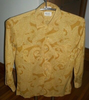 Vintage 1970's McCurdy's Polyester Disco Shirt Long Cuffs Yellow Hippie Rare