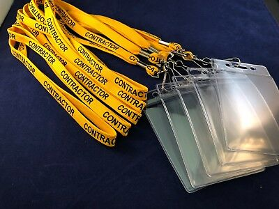 Yellow Contractor Lanyards Safety Release Clips & Soft Plastic ID Holder x 5
