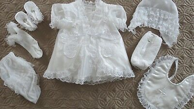 Vintage Tip Top Kids XS Baptism Christening Gown 8 piece set Baby Girl
