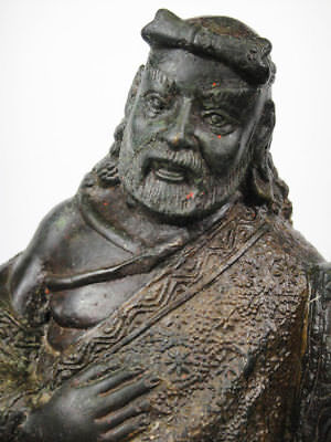 Ancient chinese bronze statue sculpture figure of a lohan on a foo dog xixthc
