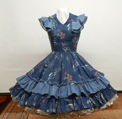 Gray And Print Square Dance Dress