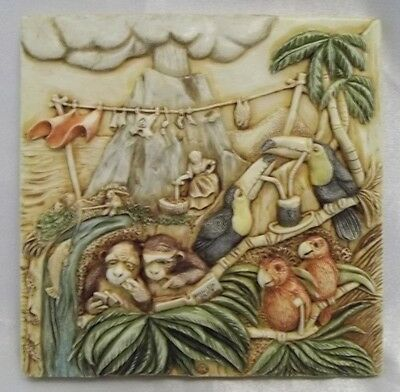 Picturesque Noah's Park Krakatoa Lounge Tile Figurine Harmony Kingdom ~18a/m