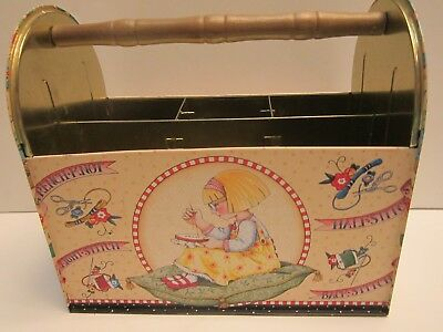 Mary Engelbreit Tin Metal Sewing/craft Caddy Vintage & In Nice Condition! Rare!