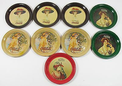 9 Vintage 1974 Nostalgic Metal COCA COLA COASTERS Coke Advertising 44 Y/O GC/VGC