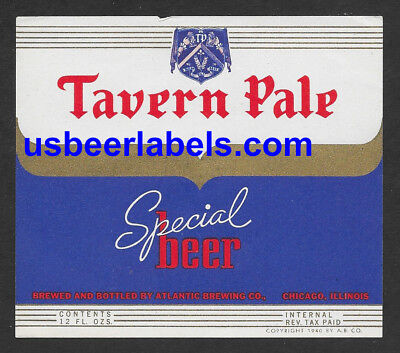 1940's IRTP beer label - TAVERN PALE SPECIAL - Chicago, IL (TAZ-7)