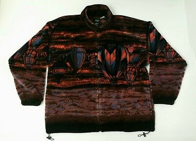 Mazmania XL Hot Air Balloon Fleece Plush Jacket Comfy Excellent Condition Red