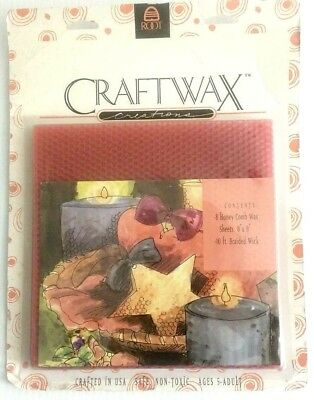 """8 Honey Comb Wax Sheets 8"""" X 8"""" 10 ft. Braided Wick Crafting Beewax New Vintage"""