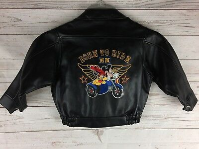 Vintage Disney Mickey Mouse Born To Ride Kids Faux Leather Jacket size small 4T