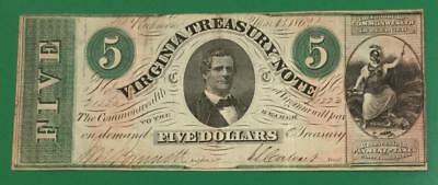 """1862 $1 Virginia """"US TREASURY"""" LARGE SIZE Currency! FINE! Old US Paper Money"""
