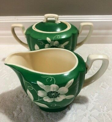 Vintage Japan 1920s+; Green + White Reverse-Hand-Painted Creamer + Lidded-Sugar