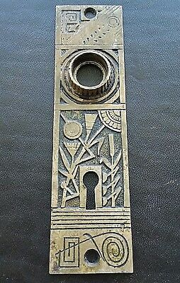 Antique Victorian Eastlake Door Knob Back Plate Brass Bronze Rare Floral Flower
